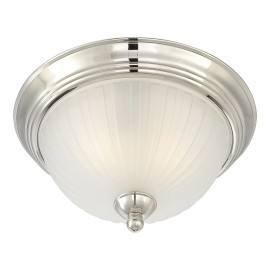 "1730 Series Collection 2-Light 13"" Polished Nickel Flush with Etched Glass Shade 1730-613"