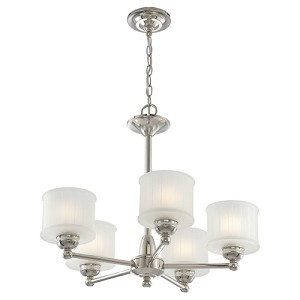 "1730 Series Collection 5-Light 24"" Polished Nickel Chandelier with Etched Glass Shade 1735-613"