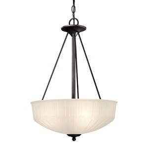 "1730 Series Collection 3-Light 24"" Lathan Bronze Pendant with Etched Glass-Box Pleat 1737-1-167"
