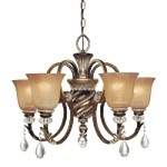 "Aston Court Collection 5-Light 27"" Aston Court Bronze Chandelier with Avorio Mezzo Glass 174-206"
