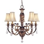 "Aston Court Collection 5-Light 29"" Bronze Chandelier with Fabric Shades 1745-206"