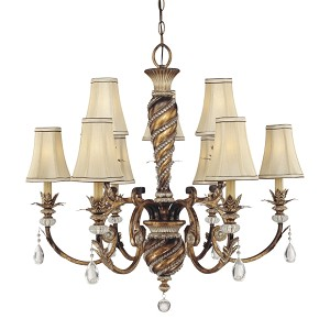 "Aston Court Collection 9-Light 33"" Bronze Chandelier with Fabric Shades 1748-206"