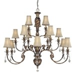 "Aston Court Collection 15-Light 50"" Bronze Grand Chandelier with Fabric Shades 1749-206"