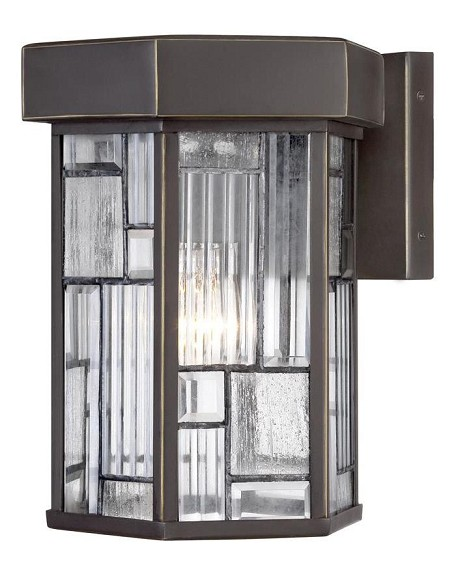 Designers Fountain One Light Aged Bronze Patina Clear, Seedy & Ribbed Glass Wall Lantern - 32121-ABP