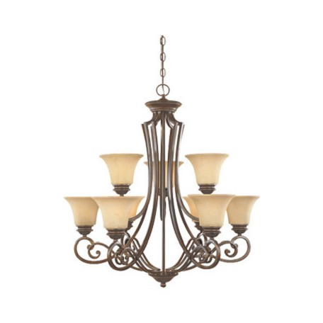 Forged Sienna Nine Light Up Lighting Two Tier Chandelier from the Mendocino Collection