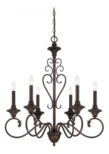 Burnt Umber Helena 6 Light 1 Tier Candle Style Chandelier