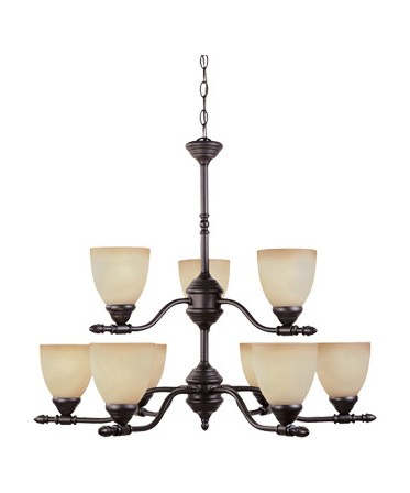 Oil Rubbed Bronze Nine Light Up Lighting Two Tier Chandelier from the Apollo Collection