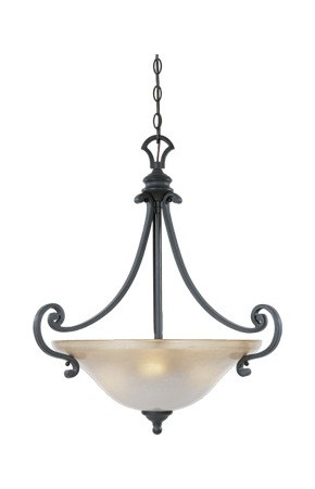 Natural Iron Three Light Down Lighting Bowl Pendant from the Barcelona Collection