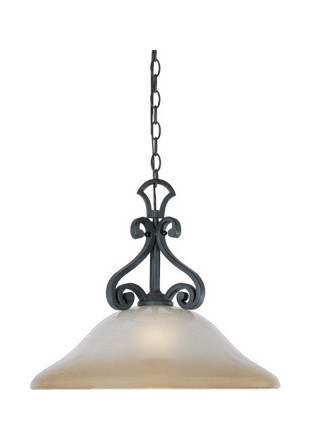 Natural Iron Single Light Down Lighting Pendant from the Barcelona Collection