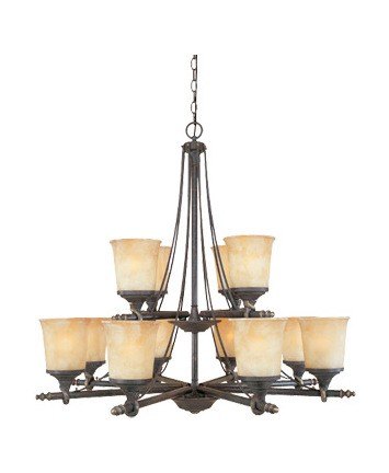 Weathered Saddle Twelve Light Up Lighting Two Tier Chandelier from the Austin Collection