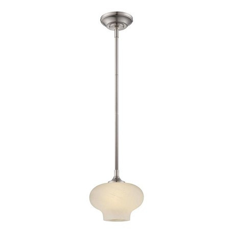 Designers Fountain Satin Platinum French Swirl Glass Down Mini Pendant - LED6317-FS-SP