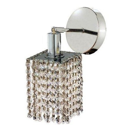 "Mini Collection 1-Light 6"" Chrome Wall Sconce with Peridot Light Green Royal Cut Crystal 1281W-R-E-LP/RC"