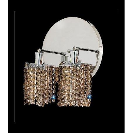 "Mini Collection 2-Light 9"" Chrome Wall Sconce with Golden Teak Smoky Royal Cut Crystal 1282W-R-P-GT/RC"
