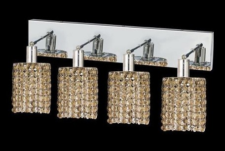 "Mini Collection 4-Light 26"" Chrome Wall Sconce with Golden Teak Smoky Royal Cut Crystal 1284W-O-R-GT/RC"