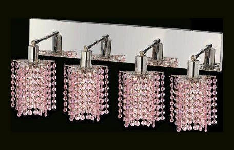 "Mini Collection 4-Light 26"" Chrome Wall Sconce with Rosaline Pink Royal Cut Crystal 1284W-O-P-RO/RC"