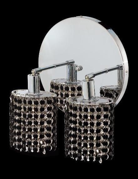 "Mini Collection 2-Light 9"" Chrome Wall Sconce with Jet Black Royal Cut Crystal 1282W-R-R-JT/RC"