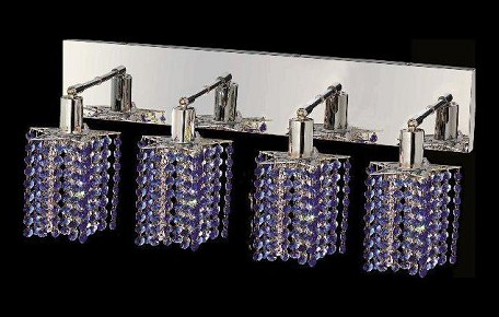 "Mini Collection 4-Light 26"" Chrome Wall Sconce with Sapphire Blue Royal Cut Crystal 1284W-O-P-SA/RC"
