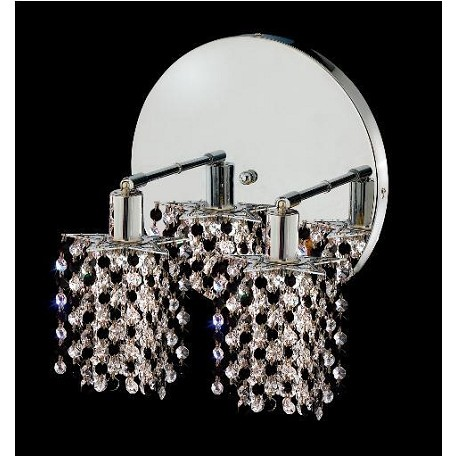 "Mini Collection 2-Light 9"" Chrome Wall Sconce with Jet Black Royal Cut Crystal 1382W-R-P-JT/RC"
