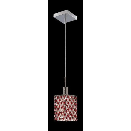 "Mini Collection 1-Light 4"" Chrome Mini Pendant with Bordeaux Red Royal Cut Crystal 1381D-S-S-BO/RC"