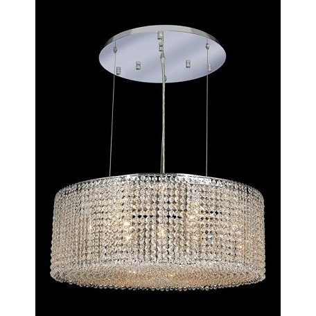 "Moda Collection 9-Light 26"" Chrome Pendant with Peridot Light Green Royal Cut Crystal 1293D26C-LP/RC"