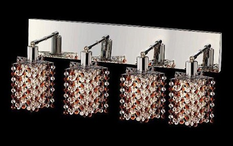 "Mini Collection 4-Light 26"" Chrome Wall Sconce with Topaz Brown Royal Cut Crystal 1384W-O-P-TO/RC"