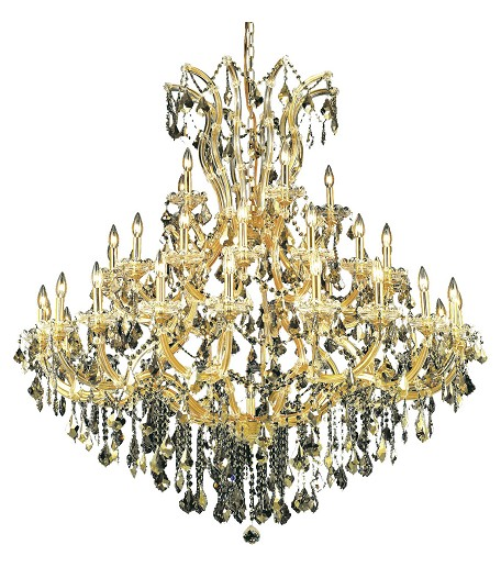 Royal Cut Smoky Golden Teak Crystal Maria Theresa 41-Light, Three-Tier Crystal Chandelier, Finished in Gold with Smoky Golden Teak Crystals