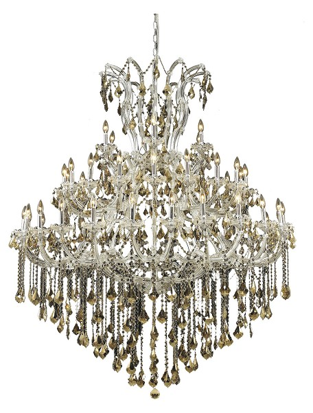 Royal Cut Smoky Golden Teak Crystal Maria Theresa 49-Light, Three-Tier Crystal Chandelier, Finished in Chrome with Smoky Golden Teak Crystals