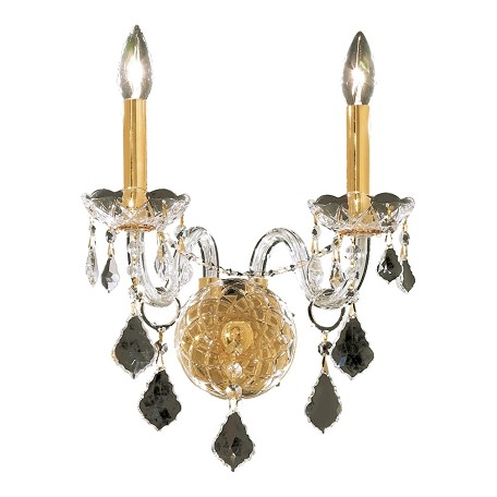 "Alexandria Collection 2-Light 13"" Gold Wall Sconce with Clear Royal Cut Crystal 7831W2G/RC"