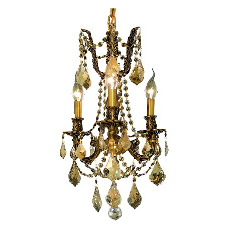 "Rosalia Collection 3-Light 13"" French Gold Mini Chandelier with Golden Teak Smoky Royal Cut Crystal 9203D13FG-GT/RC"