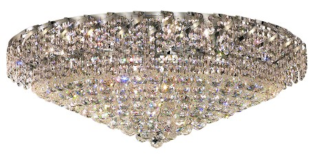 "Belenus Collection 28-Light 36"" Chrome Flush Mount with Clear Royal Cut Crystal ECA1F36C/RC"