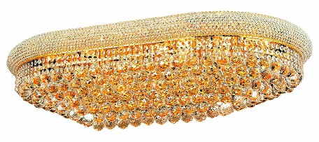 "Primo Collection 24-Light 24"" Gold Flush Mount with Clear Royal Cut Crystal 1800F40SG/RC"