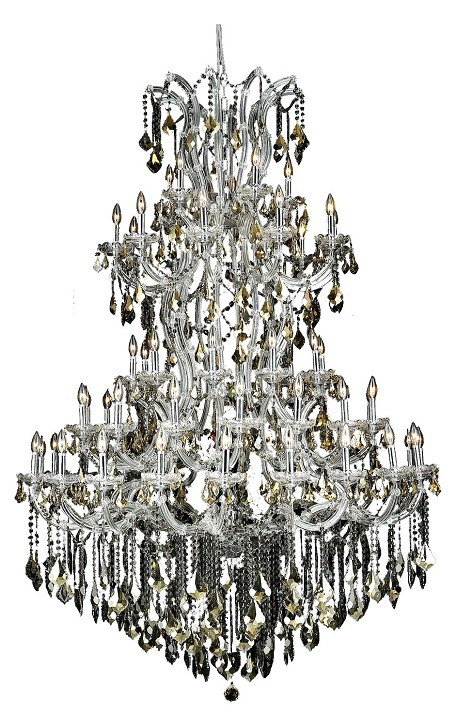 Royal Cut Smoky Golden Teak Crystal Maria Theresa 61-Light, Five-Tier Crystal Chandelier, Finished in Chrome with Smoky Golden Teak Crystals