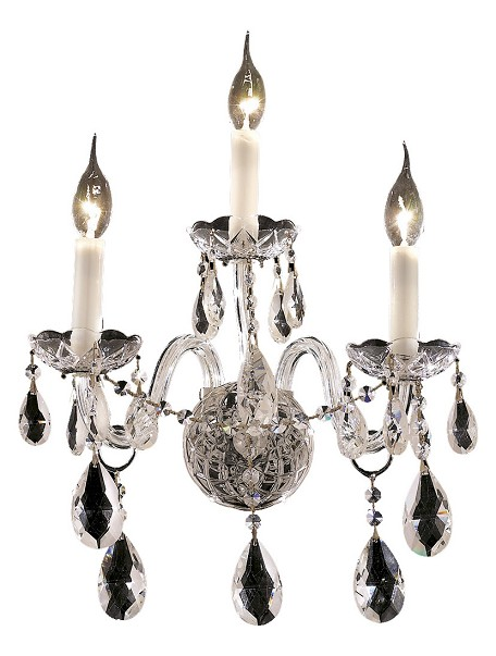 "Alexandria Collection 3-Light 13"" Chrome Wall Sconce with Clear Royal Cut Crystal 7829W3C/RC"