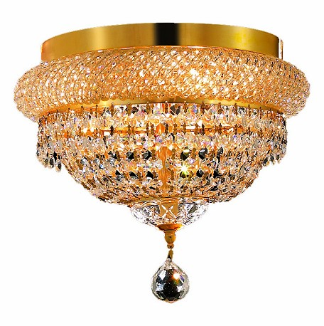 "Primo Collection 4-Light 12"" Gold Flush Mount with Clear Royal Cut Crystal 1803F12G/RC"