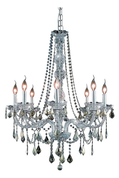 "Verona Collection 8-Light 28"" Chrome Chandelier with Golden Teak Smoky Royal Cut Crystal 7858D28C-GT/RC"