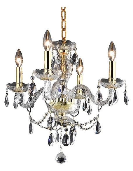 "Princeton Collection 4-Light 17"" Gold Glass Mini Chandelier with Crystal 7834D17G/RC"
