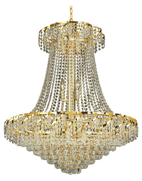 "Belenus Collection 18-Light 30"" Gold Chandelier with Clear Royal Cut Crystal ECA1D30G/RC"