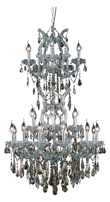 "Maria Theresa Collection 25-Light 30"" Chrome Chandelier with Golden Teak Smoky Royal Cut Crystal 2801D30SC-GT/RC"
