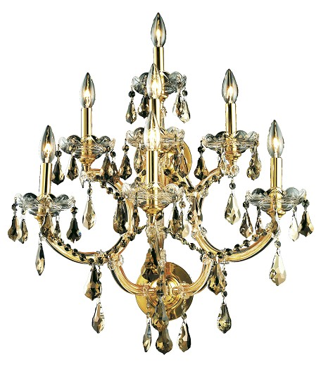 "Maria Theresa Collection 7-Light 22"" Gold Wall Sconce with Golden Teak Smoky Royal Cut Crystal 2801W7G-GT/RC 2801W7G-GT/RC"