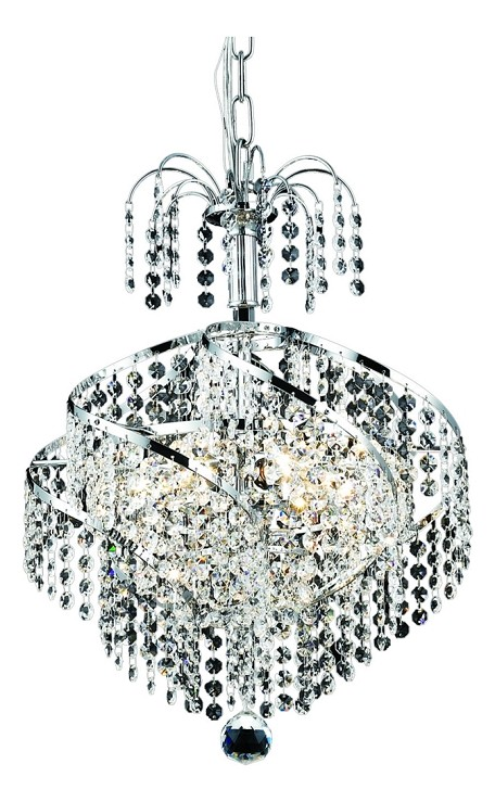 "Spiral Collection 3-Light 14"" Chrome Mini Chandelier with Clear Royal Cut Crystal 8052D14C/RC"
