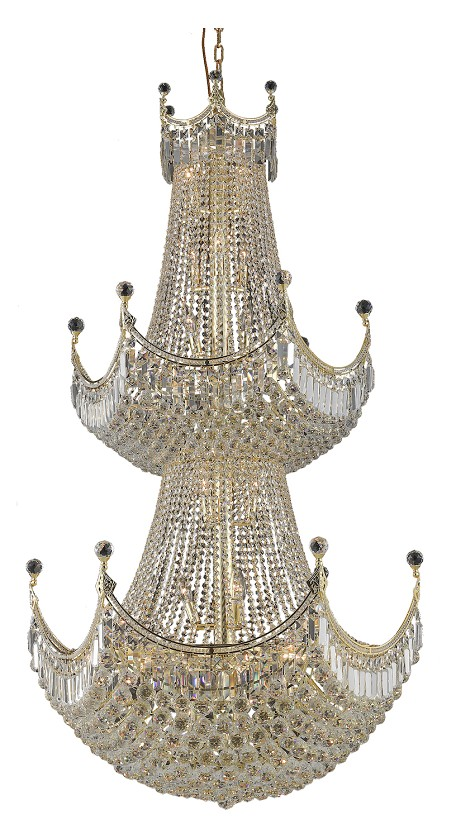 "Corona Collection 36-Light 36"" Gold Chandelier with Clear Royal Cut Crystal 8949G36G/RC"