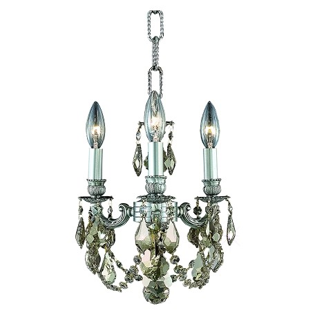 "Lillie Collection 3-Light 10"" Pewter Chandelier with Golden Teak Smoky Royal Cut Crystal 9103D10PW-GT/RC"