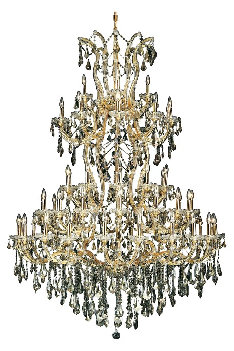 Royal Cut Smoky Golden Teak Crystal Maria Theresa 61-Light, Five-Tier Crystal Chandelier, Finished in Gold with Smoky Golden Teak Crystals