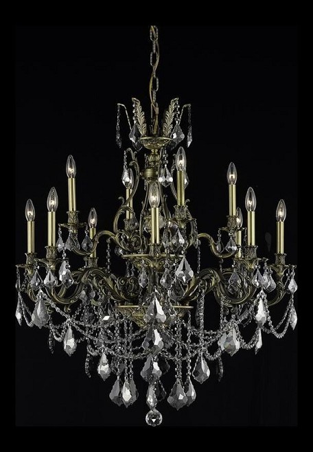 "Monarch Collection 12-Light 35"" Antique Bronze Chandelier with Silver Shade Grey Royal Cut Crystal 9612D35AB-SS/RC"