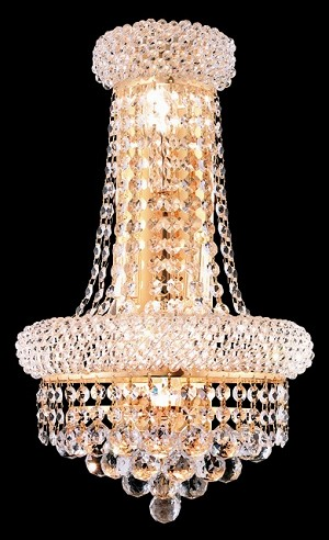 Bagel Design 4-Light 17'' Gold or Chrome Wall Sconce Dressed with European or Swarovski Crystals SKU# 10142