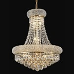 Bagel Design 14-Light 26'' Chrome or Gold Chandelier Dressed with European or Swarovski Spectra Crystal Strands  SKU# 10116