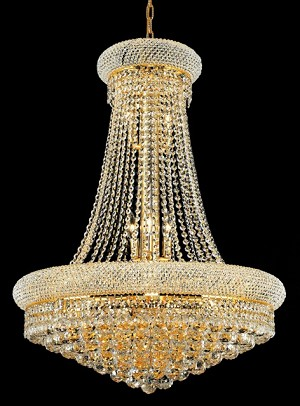 Bagel Design 14-Light 36'' Chrome or Gold Chandelier Dressed with European or Swarovski Spectra Crystal Strands  SKU# 10118