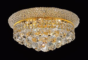 Bagel Design 6-Light 14'' Chrome or Gold Round Ceiling Flush Mount Dressed with European or Swarovski Crystal  SKU# 10128