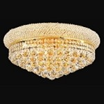 Bagel Design 10-Light 20'' Gold or Chrome Round Ceiling Flush Mount Dressed with European or Swarovski Crystal  SKU# 10130