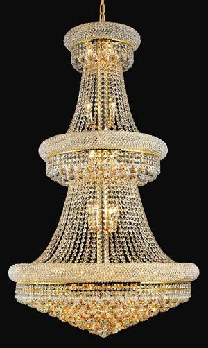 Bagel Design 32-Light 50'' Chrome or Gold Chandelier with European or Swarovski Spectra Crystal Strands SKU# 10119